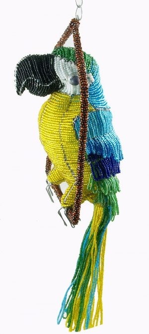 beaded macaw figurine; beaded parrot figurine