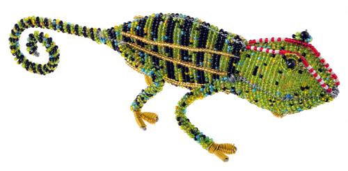beaded chameleon figurine