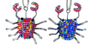 beaded crab key chain, crab keyring