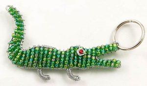 beaded crocodile key chain; beaded alligator key chain, crocodile keyring