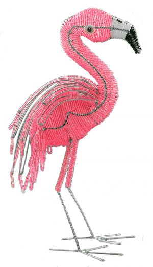 beaded flamingo figurine