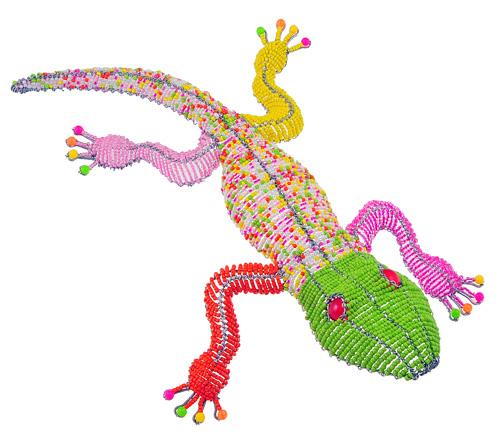 beaded gecko figurine