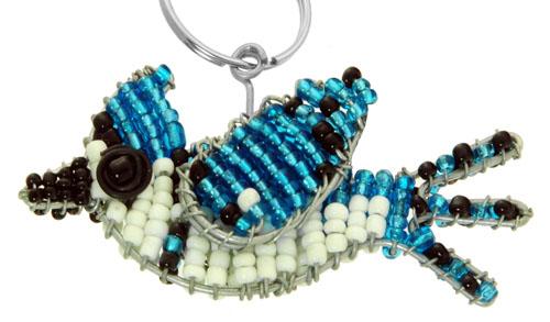 beaded blue jay key chain