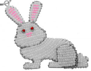 beaded rabbit key chain; beaded bunny rabbit key chain, rabbit keyring, bunny keyring