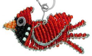 beaded cardinal key chain