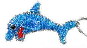 beaded dolphin key chain, dolphin keyring