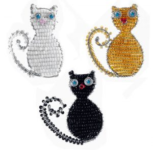 beaded cat key chain, cat keyring