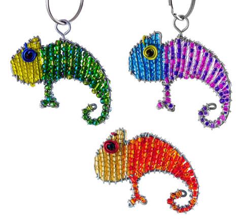 beaded chameleon key chain, chameleon keyring