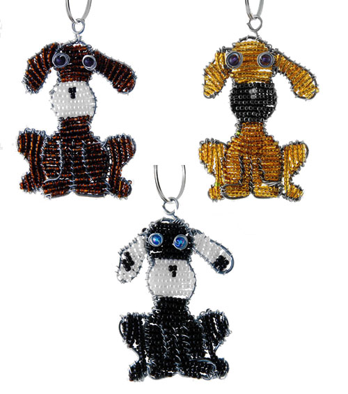 beaded dog key chain, dog keyring