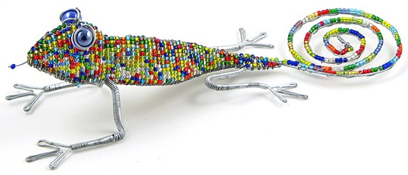 beaded lizard, chameleon & gecko figurines