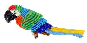 mini beaded macaw figurine, mini beaded parrot figurine