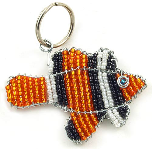 beaded clown fish key chain; clown fish keychain, clownfish keyring
