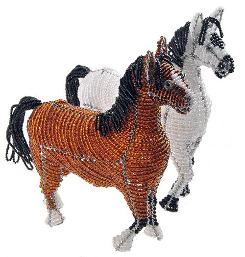 beaded horse, beaded horse figurine, beaded stallion
