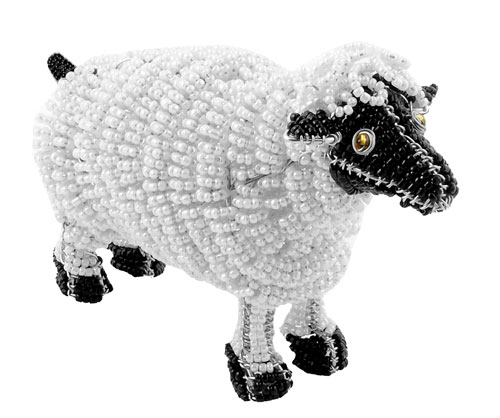 beaded sheep; sheep figurine