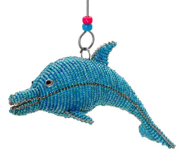 mini beaded dolphin figurine