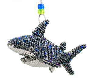 mini beaded shark figurine