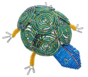 beaded turtle figurine, beaded tortoise figurine