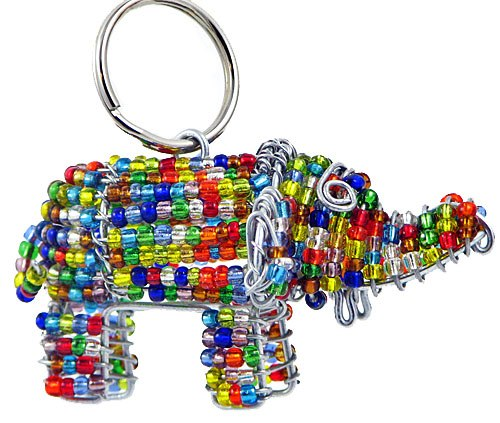 beaded elephant key chain, elephant keyring