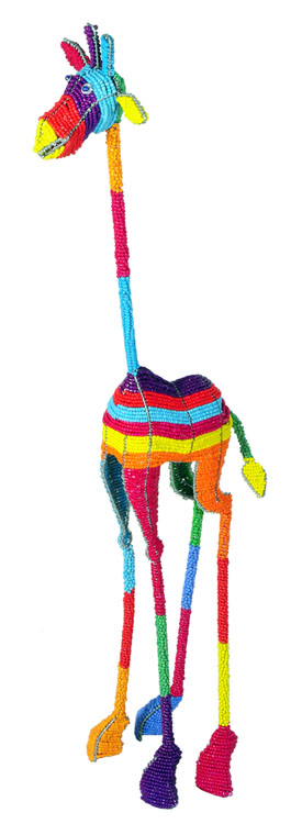 beaded giraffe figurine, African beaded giraffe