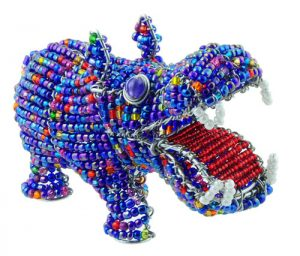 mini beaded hippo figurine