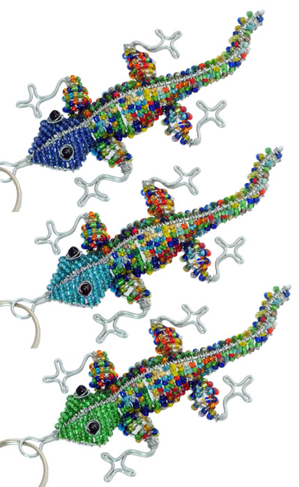 beaded lizard key chain, gecko key chain, gecko keyring, lizard keyring