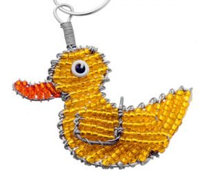 beaded duck key chain, duck keyring