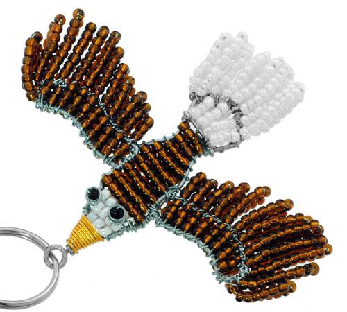 beaded eagle key chain, beaded bald eagle key chain, eagle keyring