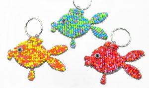 beaded goldfish key chain, fish keyring