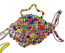 beaded fish key chain, fish keyring