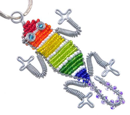beaded lizard keychain, lizard keyring