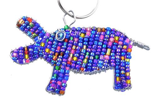 beaded hippo key chain, hippo keyring