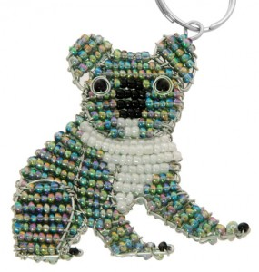 beaded koala key chain, koala keyring