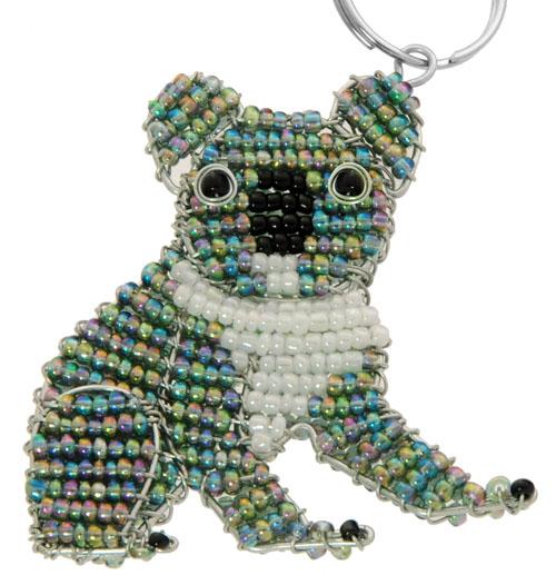 beaded koala key chain, koala keyring