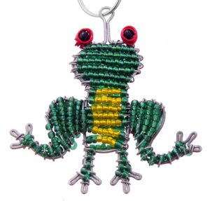 beaded frog key chain, frog keyring