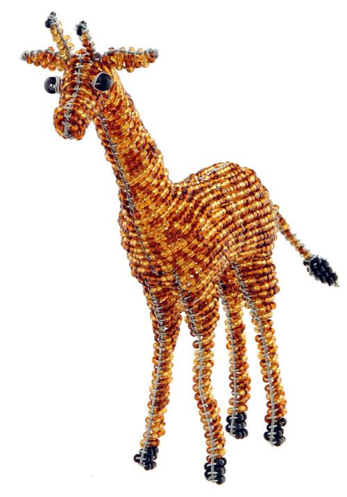 mini beaded giraffe figurine, African beaded giraffe