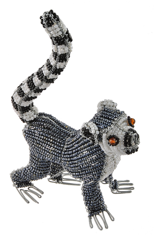 mini beaded lemur figurine