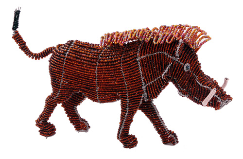 beaded warthog figurine