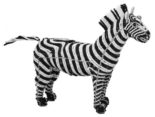 beaded zebra figurine