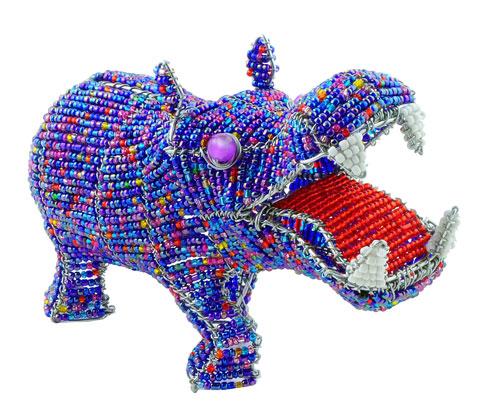 beaded hippo figurine; hippopotamus figurine