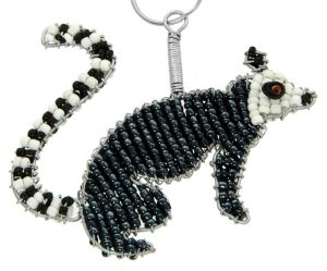 beaded lemur key chain, lemur keyring