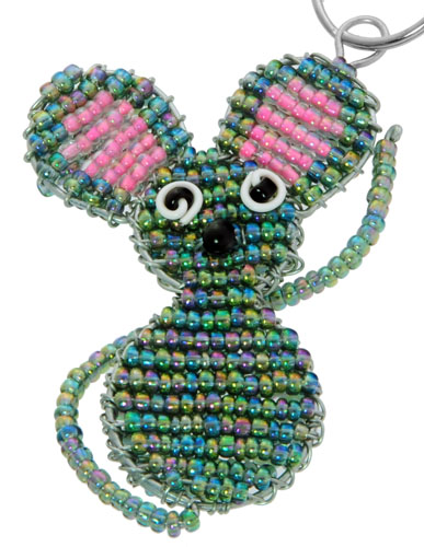beaded mouse key chain, mouse keyring