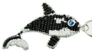 beaded orca key chain, beaded killer whale key chain, orca keyring, killer whale keyring