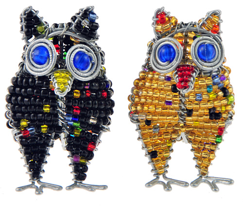 beaded owl key chain, pwl keyring