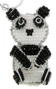 beaded panda key chain, panda keyring