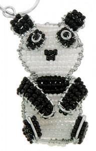 beaded panda key chain, panda keyring