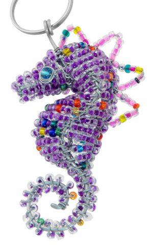 beaded seahorse key chain, seahorse keyring