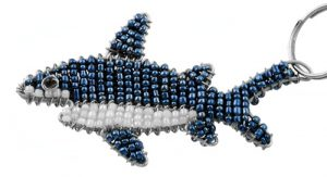 beaded shark key chain, shark keyring