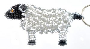 beaded sheep key chain, sheep keyring