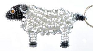 beaded sheep key chain, sheep keyring
