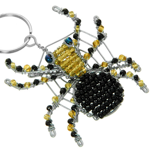 beaded spider key chain, spider keyring